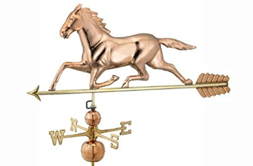 27 Polished Copper Patchen Horse Outdoor Weathervane with Arrow
