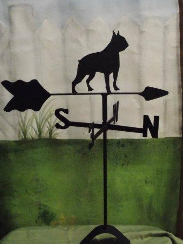 Boston Terrier Roof Mounted Weathervane Black Wrought Iron