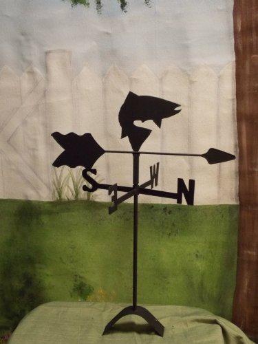 Fish Roof Mounted Weathervane Black Wrought Iron