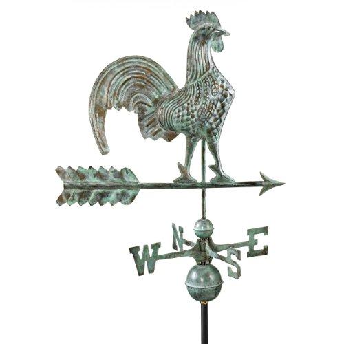 Design Toscano Strutting Rooster Full-Size Copper Weathervane Verdigris