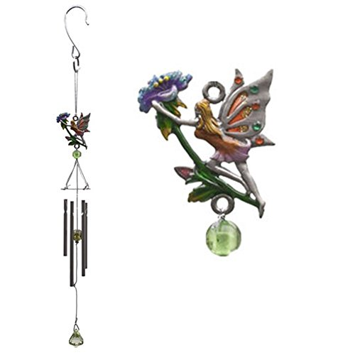 Fairy Wind Chime Metal Glass And Resin Small Garden Ornament - Love Hope Moon And Flower flower - C