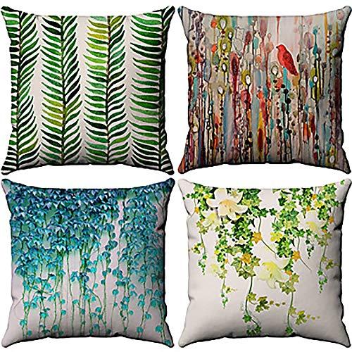 ChenTeShangMao Chick Modern Tropical Plant Model 4-Piece CottonLinen Pillowcase Throw Pillowcase Sofa Bedroom Bedding Casual Cushion