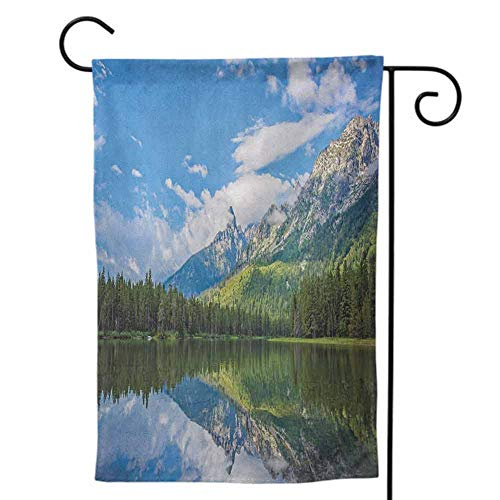 Holiday Yard Flag Decorative House Yard Double Sided for Garden Yard Lawn Landscape Pure Mountain Lake Scenery with Trees and Cloudy Sky Nature Inspired Print Blue White Green12 x18 inch