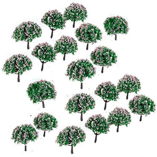 Yardwe Model Trees Miniature Landscape Scenery Train Model Architecture Trees with Pink Flowers 20PCS 1100