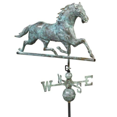 Design Toscano Galloping Horse Full-Size Copper Weathervane Verdigris
