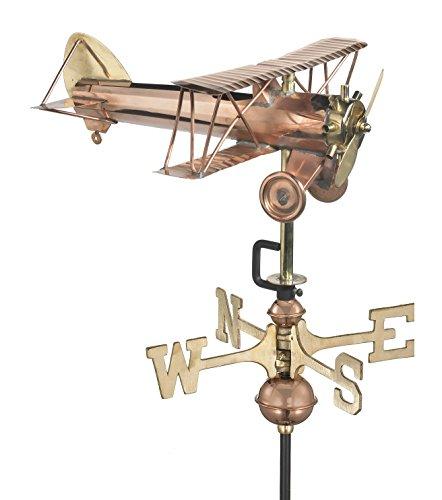 Good Directions Biplane Weathervane with Garden Pole Pure Copper Airplane Weathervanes Aviation Décor