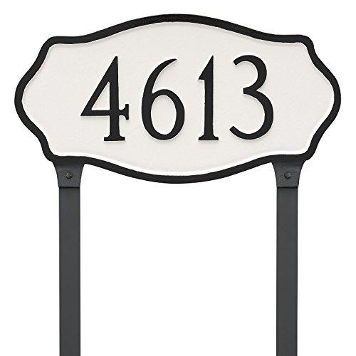 Montague Metal Hampton Estate Address Plaque with Lawn Stakes 125 x 24 BlackGold