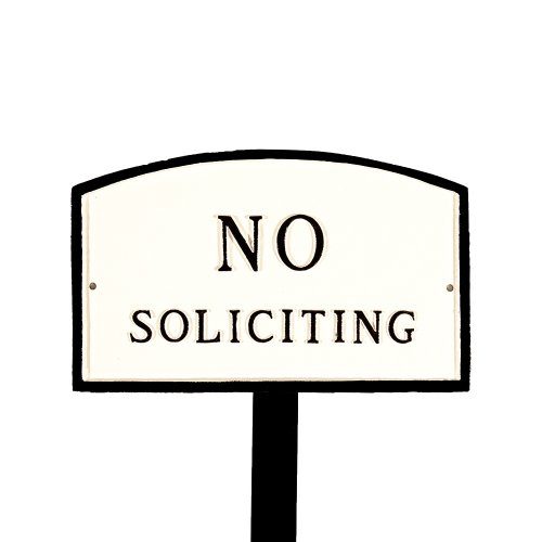 Montague Metal Products Sp-10sm-wb-ls Small White And Black No Soliciting Arch Statement Plaque With 23-inch Lawn