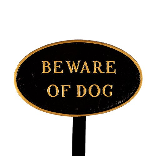 Montague Metal Products Sp-5sm-bg-ls Small Black And Gold Beware Of Dog Oval Statement Plaque With 23-inch Lawn
