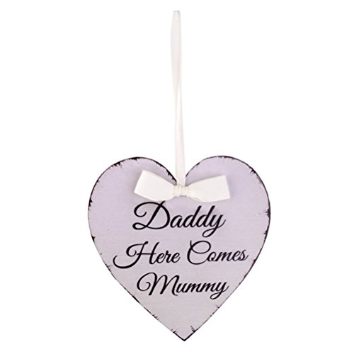 Hanging Wood Plaque Wedding Hanging Sign Heart Shape Plaque Daddy Here Comes Mummy