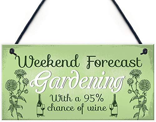 YIGUBIGU Garden Novelty Summer House Garden Shed Wine Friend Gift for Women Wooden Hanging Plaque Sign for Home Decorative